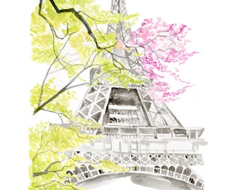 Spring in Paris, print from original watercolor and mixed media fashion illustration by Dena Cooper