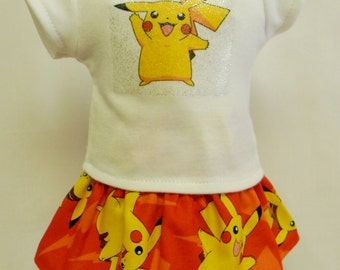 POKEMON Pikachu (Style A) Theme Outfit For 18 Inch Doll Like The American Girl