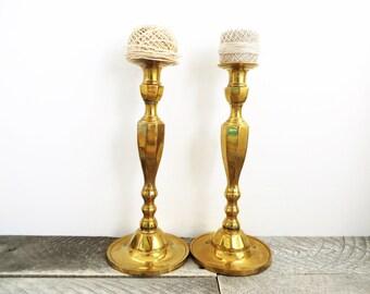 Large Brass Candlesticks - Elegant Patina - Flea Market Chic