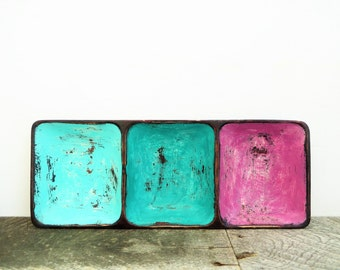 Upcycled Tray - Turquoise and Pink - Divided Tray - Bright Fresh Modern Chic