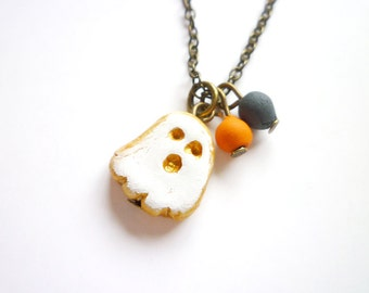 Halloween Girls Jewelry, Little Ghost Necklace, Boo hoo, Orange Black, Sweet Girl Gift