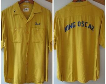 Vintage Bowling Shirt - 50s King Louie Rayon Shirt - King Oscar