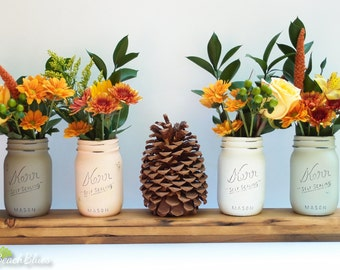 Housewarming Gift / Fall Painted Mason Jars / rustic home decor / Table decor / Thanksgiving / autumn / fall decor / orange / brown set of 4