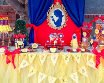 SNOW White Party- COMPLETE - Snow White Birthday- Girl Birthday Party - Snow White - Seven Dwarfs - Snow White Decorations - Princess Party