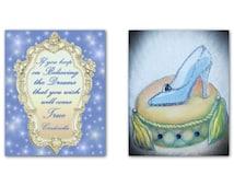 Cinderella Children's Wall Art, Princess Decor, Girls room Decor, Cinderella's Shoe & Quote SET OF 2 Prints,Princess Nursery, Children Decor