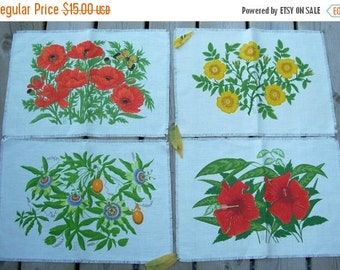 Vintage set of Four Flowered Place mats  Wall Hangings