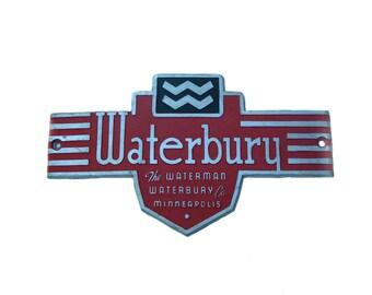 Vintage Waterman Waterbury Co. Minneapolis Furnace Sign Name Plate Aluminum