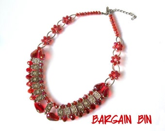 Red AB Crystal Necklace Choker Vintage Costume Jewelry