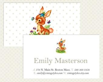Vintage Business Card Design Polka Dot Branding White Bunny Rabbit Childrenswear Kids Clothing Vintage Branding Cute Business Card Design VC