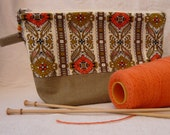 70s Vintage Fabric and Linen Project Bag