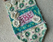 Just Be - Vintage Fabric and Button Brooch