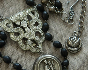 SALE use coupon code Spring10 for 10% OFF Rosary Locket Assemblage Necklace Triple Strand Vintage Assemblage 58Diamond