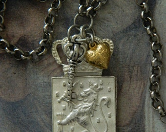 SALE 15% coupon code MARCH15 Heroldry Royal Assemblage Necklace Crown Heart Lion Coat of Arms
