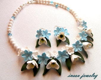 Flower Jewelry, Floral Necklace, Statement Necklace, Flower Earrings, Spring Jewelry, Blue Jewelry, Gift For Her, Pastel Jewelry, Floral