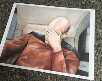 SALE - Slighly Imperfect Art Print - Picard Facepalm - 8x10