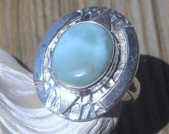 Larimar Ring 925 Sterling Silver