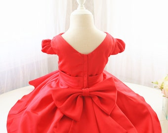 Red Flower Girl Dress for Baby Girls, V-Neck Infant Easter Dress, Toddler Birthday Party Dress, Baby Party Dress, PD105-2