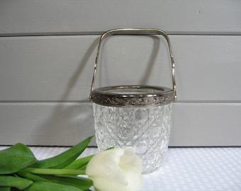 Crystal Ice Bucket, Lead Crystal Ice Bowl, Hollywood Regency, Madmen, Barware