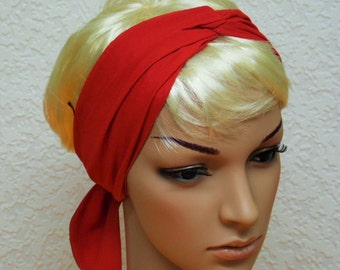 Red hair scarf, self tie headband, long headscarf, hair covering, red head scarf 146 x 7 cm
