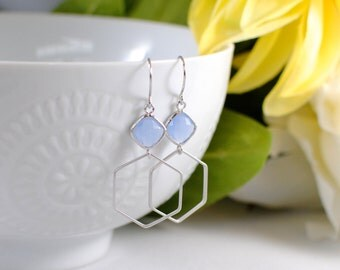 The Jolene Earrings -  Periwinkle/Silver