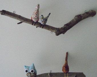 Birds Owl on NatIural Manzanita Tree branch, Birds Owl Hanging Mobile, Wall Art,