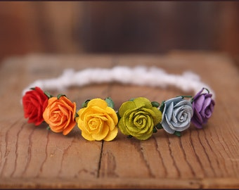 Rainbow Headband Halo * Newborn Photo Prop * Flower Halo * Baby Girl Headband * red, orange, yellow, green, blue, purple * rainbow baby