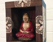 RESERVED for Tanya Up-cycled Assemblage Primitive Shrine, Small Buddha