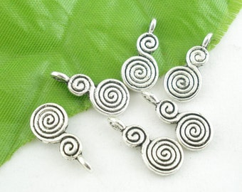 10 Pieces Antique Silver Whirl Charms