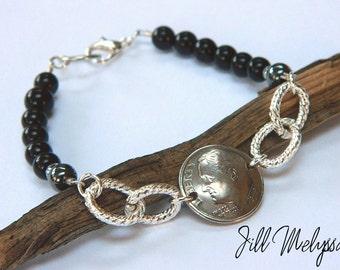 CUSTOM Coin Silver Dime Bracelet; 50th 40th 30th 20th Birthday; Swarovski Crystals; Dimes jewelry; Good Luck; 1967 1977 1987 Hematite jasper