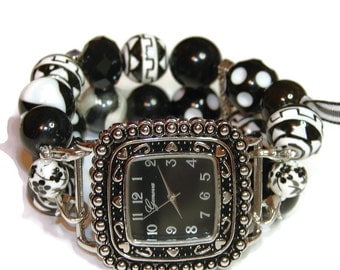 Eclectic Black and White Beaded Watch - Interchangeable Watch - BeadsnTime - Apple Watch Band - Unique Watch - Bracelet Watch -Stretch Watch