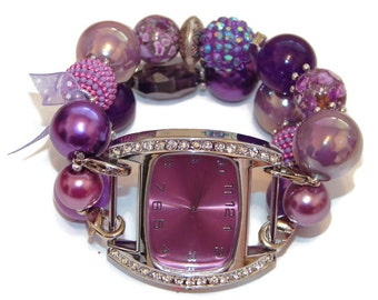 Everything Purple Chunky Beaded Watch - Interchangeable Watch - Purple Bracelet Watch - BeadsnTime - Unique Watch - Gift for Her