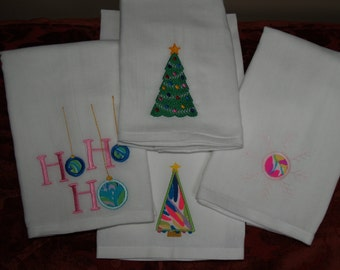 Lilly Pulitzer Christmas Applique Flour Sack Towels