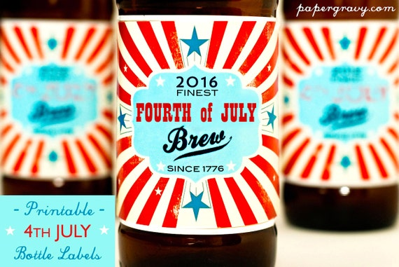 Fourth of JULY 2016 printable Beer Bottle Labels