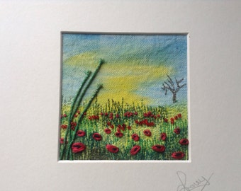 Thread painting, textile art, embroidery, poppy meadow