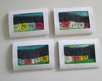 original greetings cards, textile greetings cards, art card, card and gift, felted