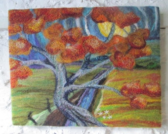textile  art, felted picture, abtract tree. 14 x 18 inches