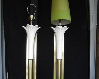 Tall Wall Mounted Lily Torchiere lamp pair - FREE SHIPPING