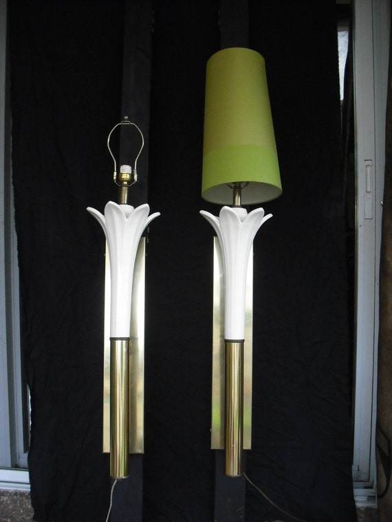 PAIR Tall Wall Mounted Lily Torchiere lamps