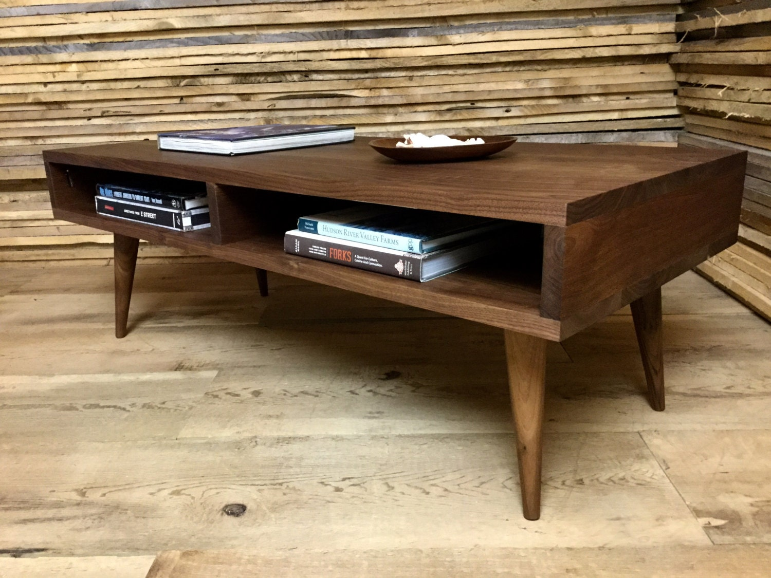Boxer mid century modern coffee table with storage by for Mid century modern coffee table