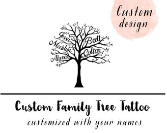Family Christmas Gifts-Parents Christmas Gift-Family Tree tattoo-Custom Family Tree-family tree-Mom Daughter Gift-Custom Temporary Tattoo