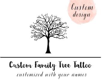 Family Tree tattoo - Custom Family Tree - family tree - Mommy Daughter Gift - Personalized family tree - Family Tree Art