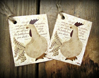 Under His Wings Chicken Hang Tags