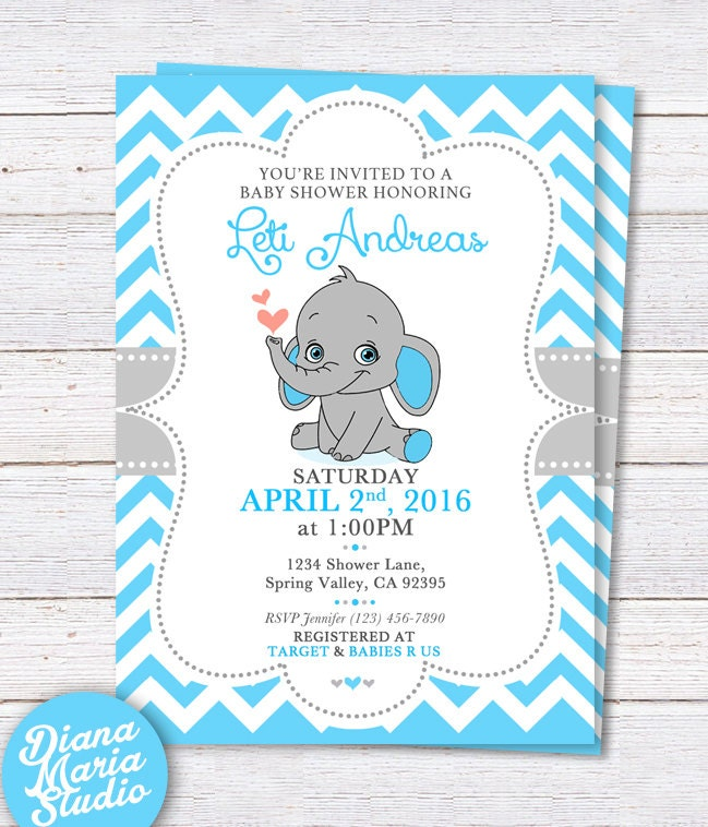 elephant baby shower invitation printable boy baby shower
