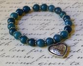 Boho Chic Bracelet Denim Blue Natural Stone Silver Heart Agate Dangle Bohemian Stretch Stacking Fashion Jewelry PaisleyBeading Free Shipping