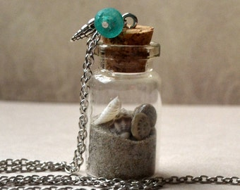 Beach in a Bottle Necklace Or DIY Souvenir Vacation Sand Shells Sea Summer Memories Glass Beach Lover Boho PaisleyBeading FREE Shipping