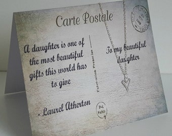 Heart Charm Necklace (pendant/chain) Daughter Card (Postcard, Carte Postale) - Sterling Silver