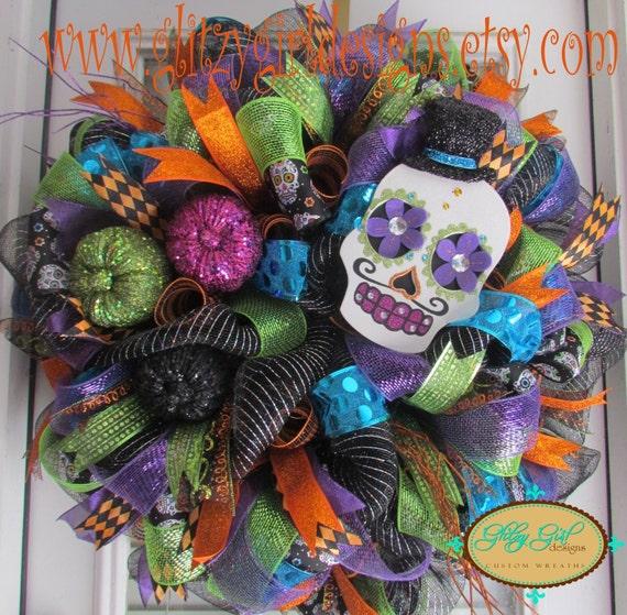 Items similar to Sugar Skull Halloween Wreath on Etsy