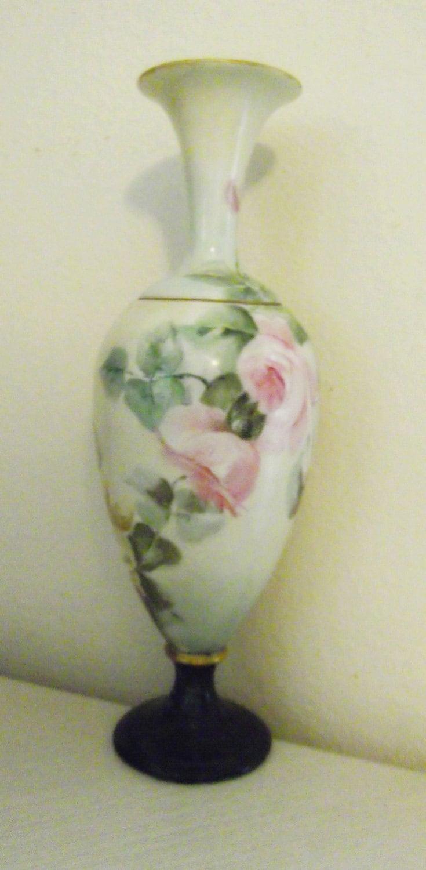American Belleek Porcelain Hand Painted Floral Vase