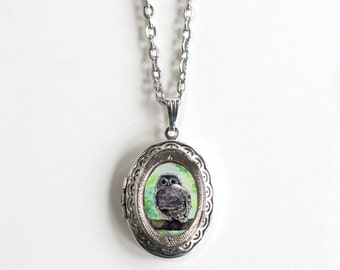 Owl Gift For Women - Locket Necklace - Owl Gift - Antique Silver - Watercolor Art
