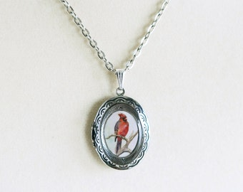 Red Cardinal Bird Locket - Art Jewelry - Wearable Art Necklace - Women's  Accessories
